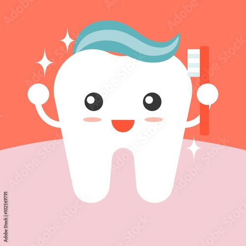 Fotografia  Vector tooth cleaning itself with toothpaste , flat design