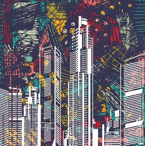 sztuki-nieba-cykliny-miasta-widoku-nocy-abstrakcjonistyczny-krajobraz