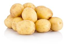 Pile New Potato Isolated On White Background