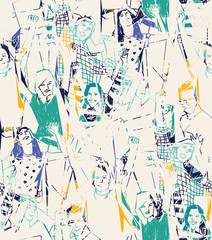 Fototapeta samoprzylepna Happy young people abstract seamless pattern.