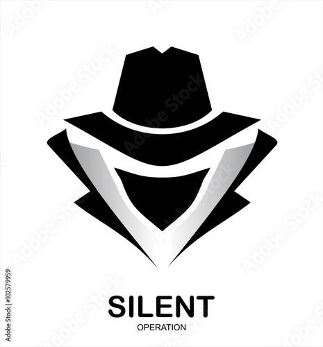 Fotografía  Secret service agent icon. Incognito. hacker. spy agent. underco