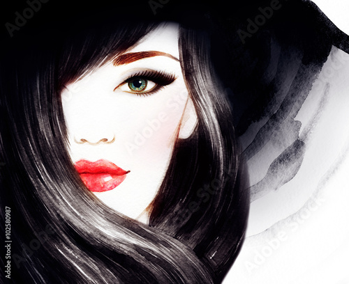Fototapeta Beautiful face. woman portrait with hat. watercolor painting .fashion background obraz