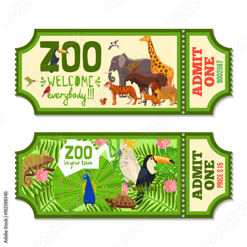 Fotografie, Obraz  Colorful Zoo Tickets With Tropical Background