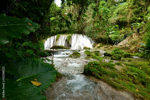 Foto  Reach Falls waterfalls and surrounding lush tropical rain forests not too far from Port Antonio are one of the most popular tourist destinations and attractions in Portland parish, Jamaica