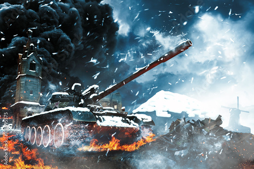 Tank in the conflict zone Poster