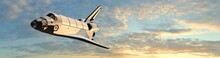 Space Shuttle Fly In The Sky At Sunset - Panorama