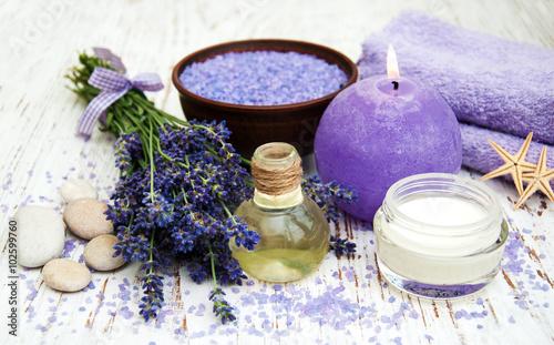 Fototapeta Lavender, sea salt and candle