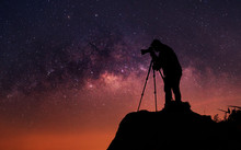 Silhouette Of A Photographer Who Shooting A Milky Way