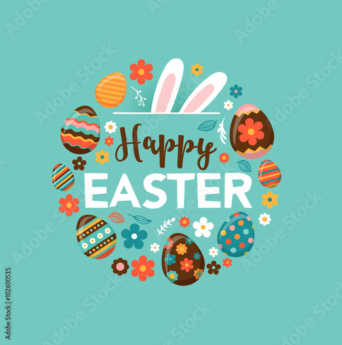 Photo  Colorful Happy Easter greeting card with rabbit, bunny and text