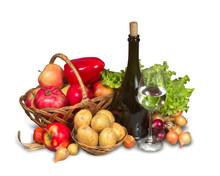 Group Of Fruits, Vegetables And Greenery With Bottle And Wicker