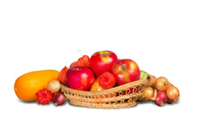 Ripe Red Apples In Wicker Basket And Group Of Vegetables