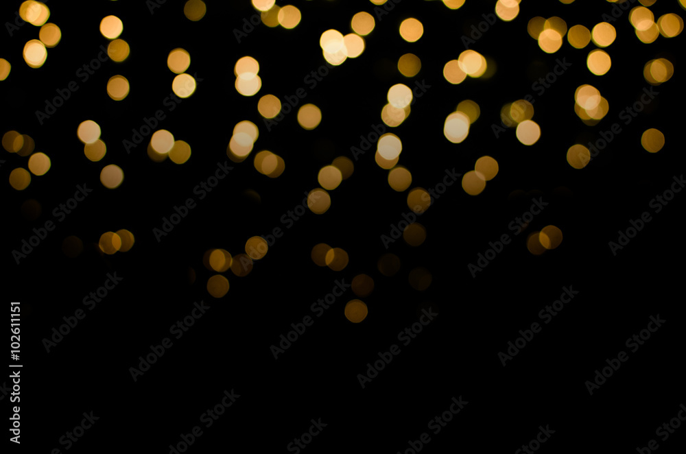 Fototapety, obrazy: abstract golden yellow colorful circle blur bokeh lights for Christmas festival background. defocused picture