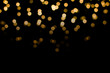 canvas print picture - abstract golden yellow colorful circle blur bokeh lights for Christmas festival background. defocused picture