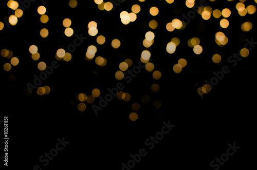 Canvastavla abstract golden yellow colorful circle blur bokeh lights for Christmas festival background