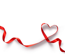 Happy Valentines Day. Red Ribbon Heart On White Background. Valentines Day Concept