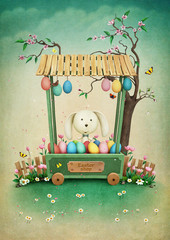 Greeting Easter card with  showcase with eggs and bunny.