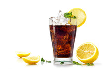 Glass Of Cola Or Coke With Ice Cubes, Slices Of Lemon And Pepper
