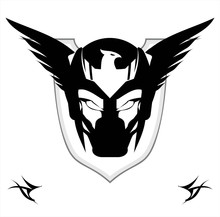 Winged Black Mask Over The Shield