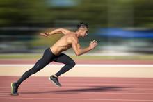 Sprinter Leaving  On The Running Track.