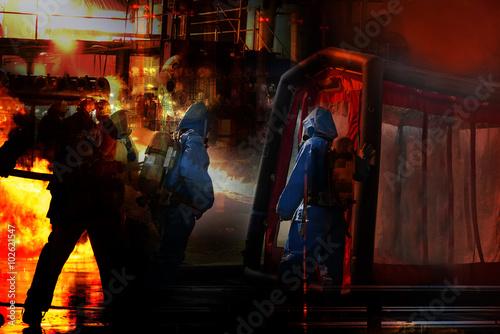 Fotografie, Obraz  Hazmat and Fire case, emergency response.