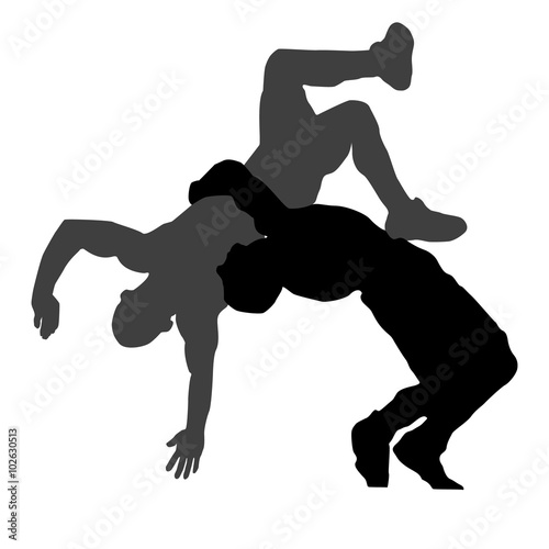 Photo  Silhouette of Greek Roman wrestling