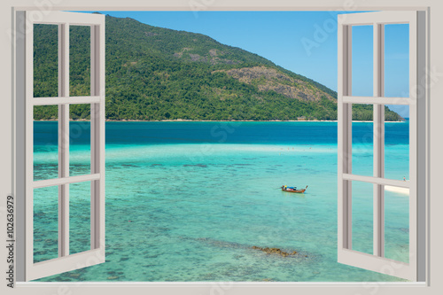 Poster Zee / Oceaan Summer, Travel, Vacation and Holiday concept - The open window,