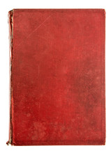Vintage Red Textile Book Cover Isolated On White