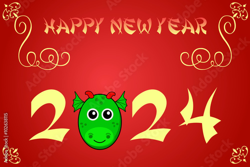 Fotografia  Happy chinese new year card illustration for 2024