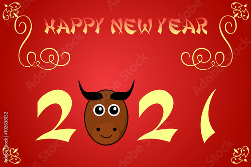 Poster  Happy chinese new year card illustration for 2021