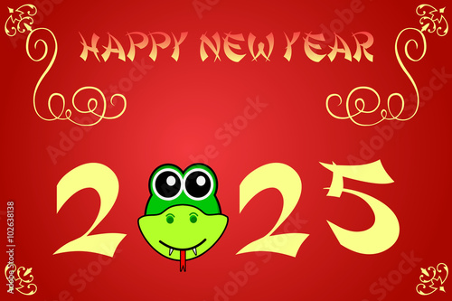 Fotografia  Happy chinese new year card illustration for 2025