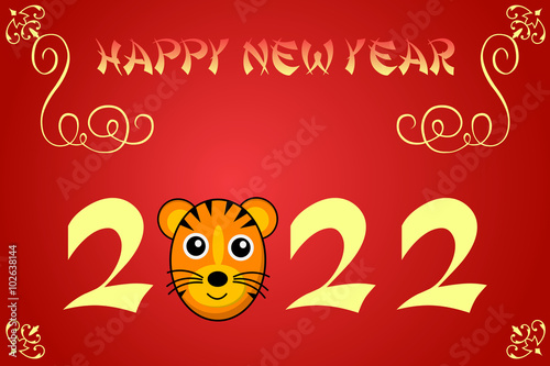 Fotografering  Happy chinese new year card illustration for 2022