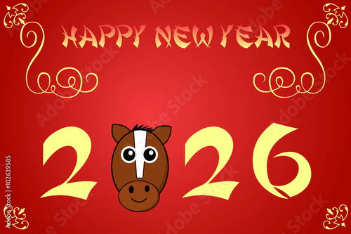 Fotografia  Happy chinese new year card illustration for 2026