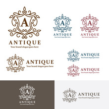Antique Crest Letter A Logo. Heraldry Sign Crest Brand Identity. Monogram Pattern. Royal Ancient Symbol. Classic Badge.