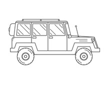 Suv Jeep Outline And Thin Line...