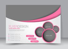 Flyer, Brochure, Magazine Cover Template Design Landscape Orientation For Education, Presentation, Website. Pink Color. Editable Vector Illustration.