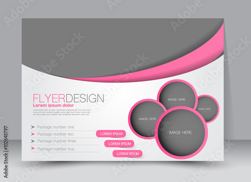La pose en embrasure Taupe Flyer, brochure, magazine cover template design landscape orientation for education, presentation, website. Pink color. Editable vector illustration.