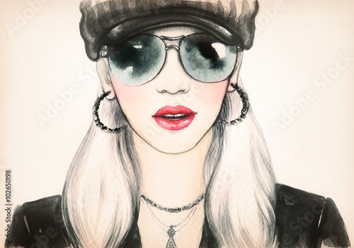 Young woman with glasses. watercolor fashion illustration