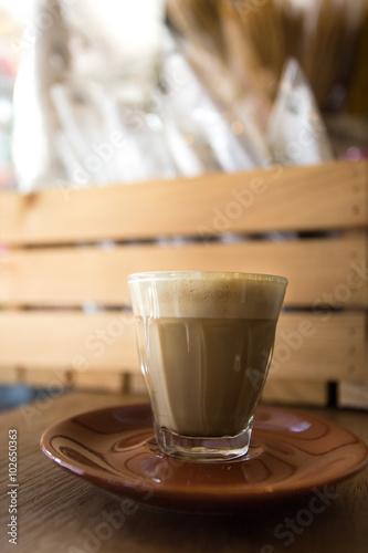 Fotografie, Obraz  glass of hot piccolo latte coffee