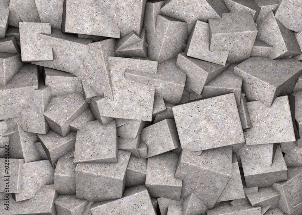 Fototapety, obrazy: Abstract background broken concrete cubes