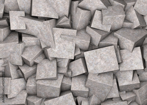 Fototapeta Abstract background broken concrete cubes obraz