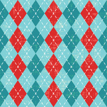 Colorful Scratched Argyle Pattern Inspired Vector Background