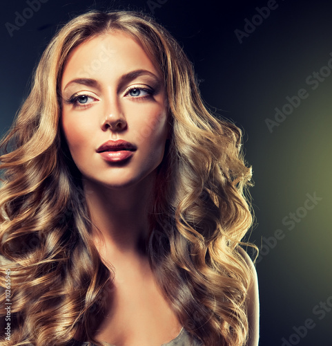 Fototapety, obrazy: Beautiful model brunette with long curled hair  .