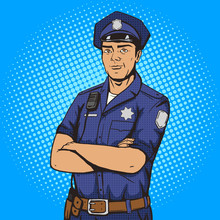 Policeman Pop Art Style Vector Illustration