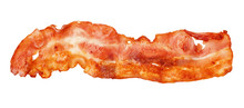 Cooked Bacon Strip Close-up Isolated On A White Background.