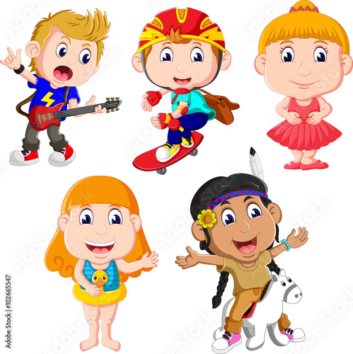Photo Stands Indians illustration of Happy little kids collection set