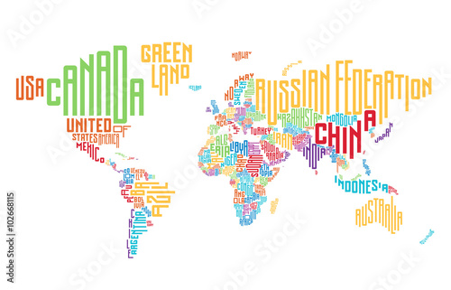Canvastavla World map made of typographic country names