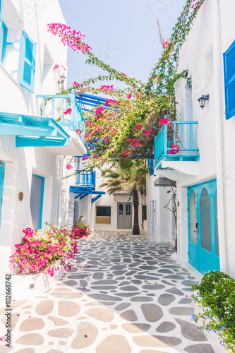 Fototapeta Beautiful architecture with santorini and greece style obraz