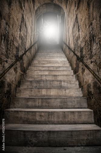 Canvas-taulu geheimnisvoller unterirdischer Treppenaufgang