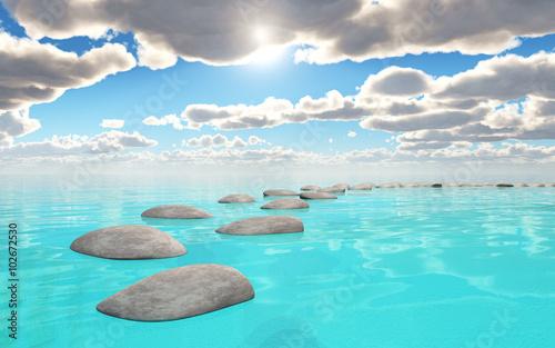 Papiers peints Turquoise paysage zen