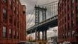 otion time lapse hyperlapse of Manhattan bridge from Washington street, Brooklyn, New York, USA